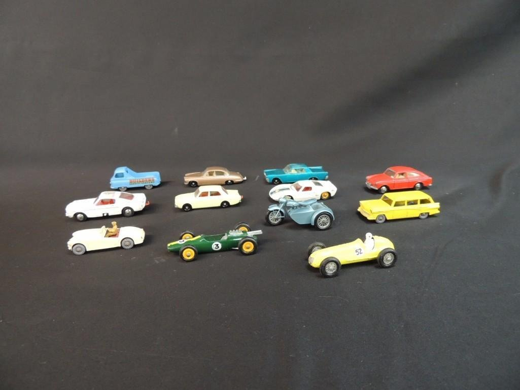 Group of 12 Lesney Metal Toy Cars Featuring Race Cars,