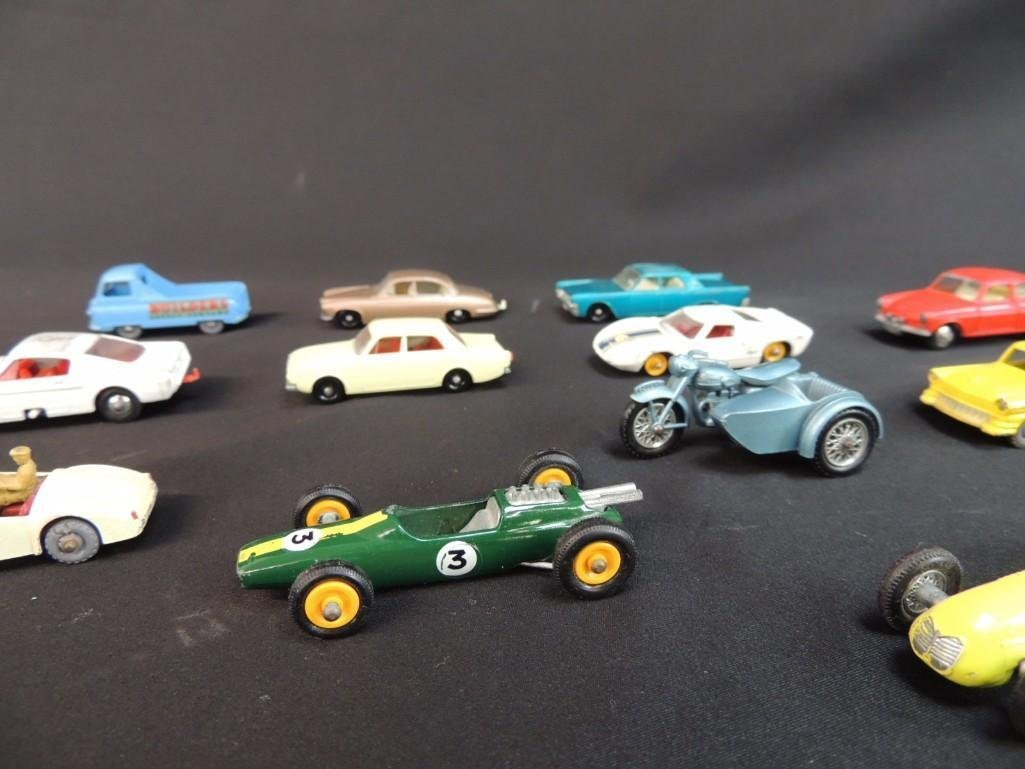 Group of 12 Lesney Metal Toy Cars Featuring Race Cars, - 3