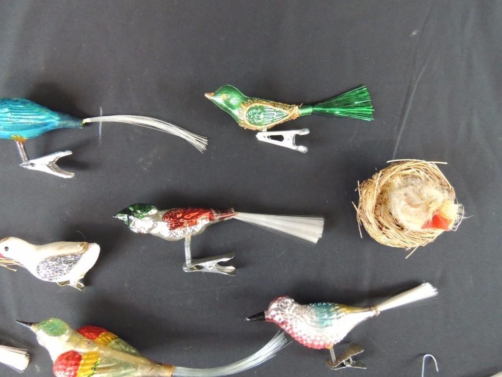 Group of Vintage Christmas Mercury Glass Bird Ornaments - 3