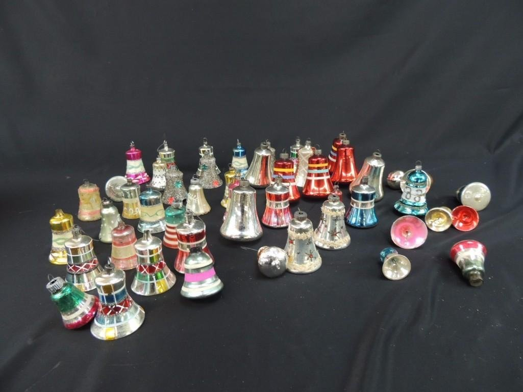 Group of Vintage Mercury Glass Christmas Bell Ornaments - 2