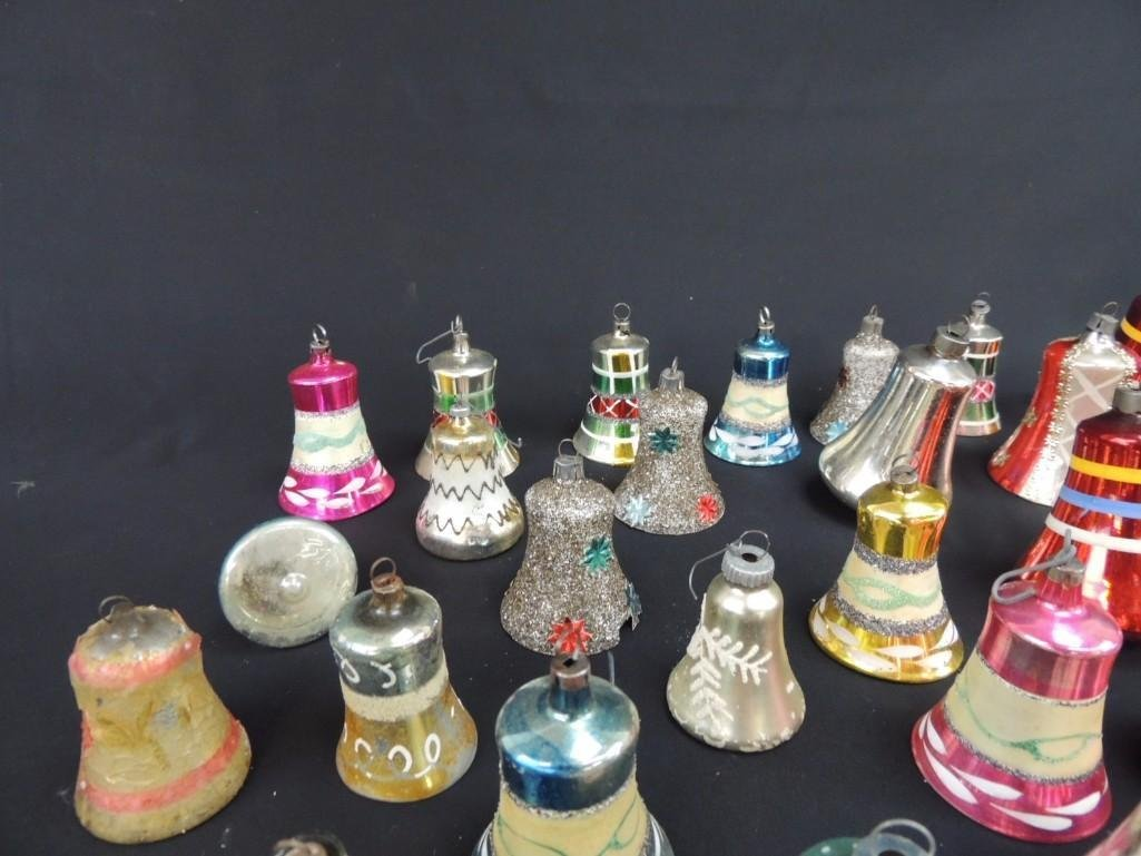 Group of Vintage Mercury Glass Christmas Bell Ornaments - 4