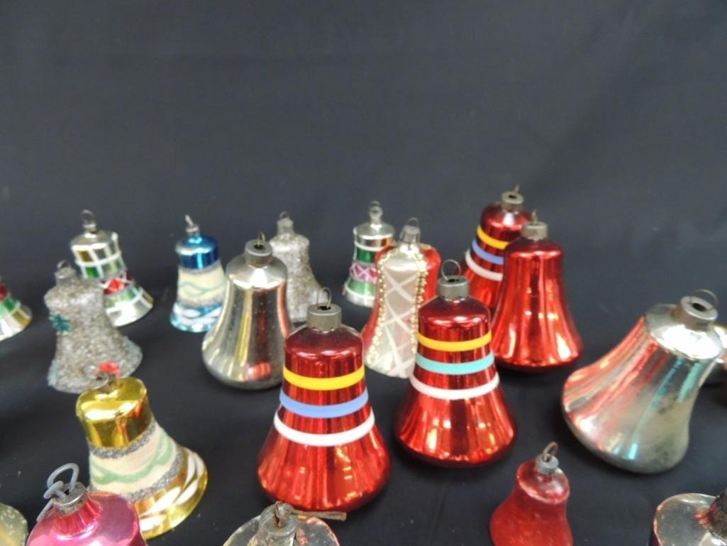 Group of Vintage Mercury Glass Christmas Bell Ornaments - 5