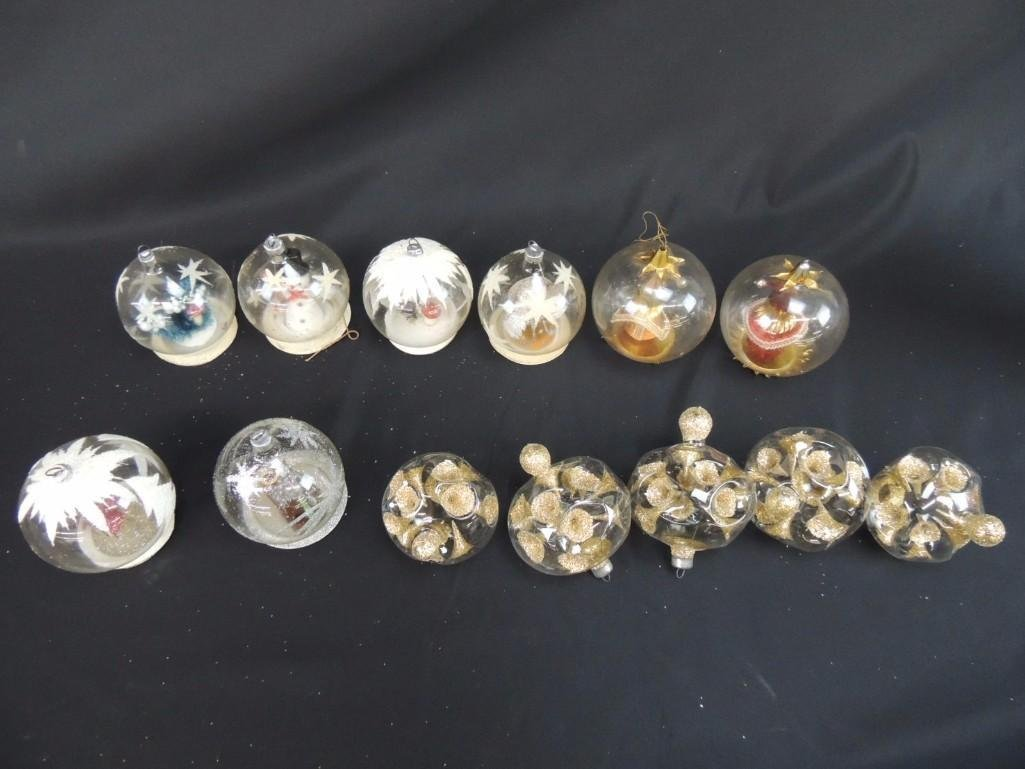 Group of Vintage Clear Glass Figural Christmas