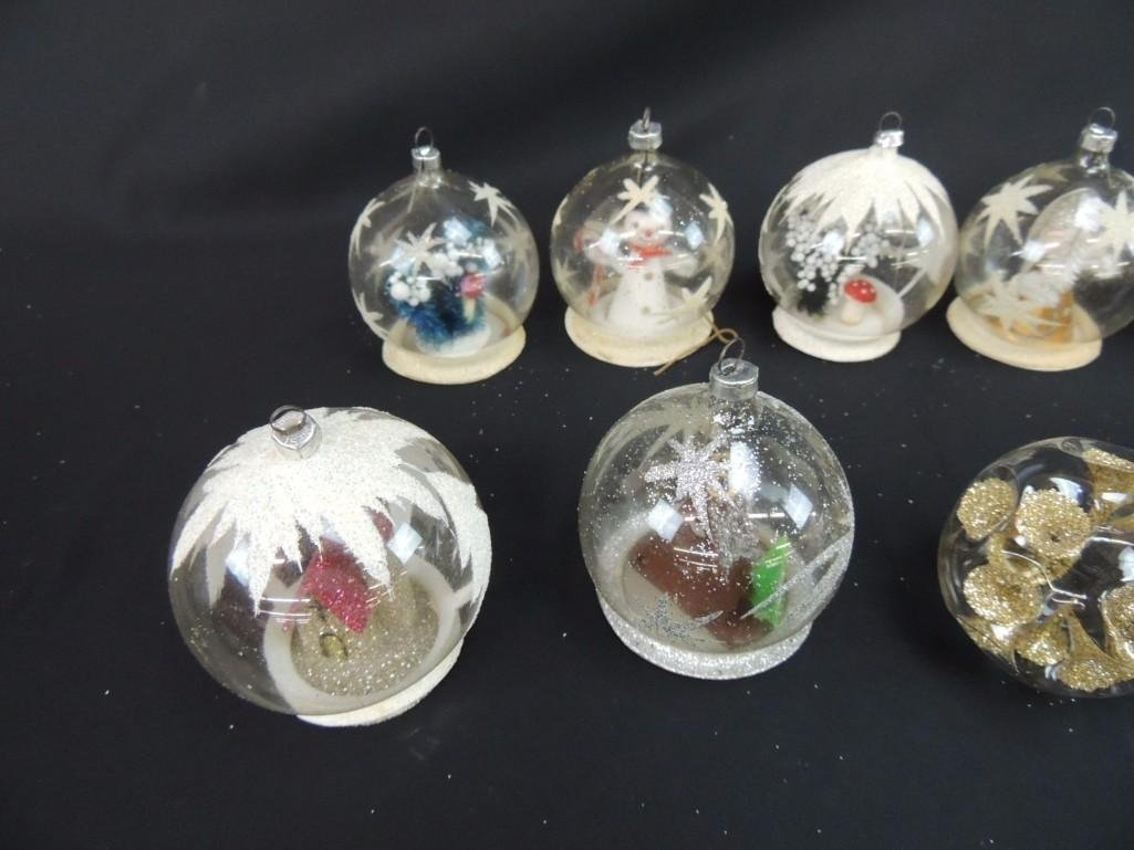 Group of Vintage Clear Glass Figural Christmas - 2