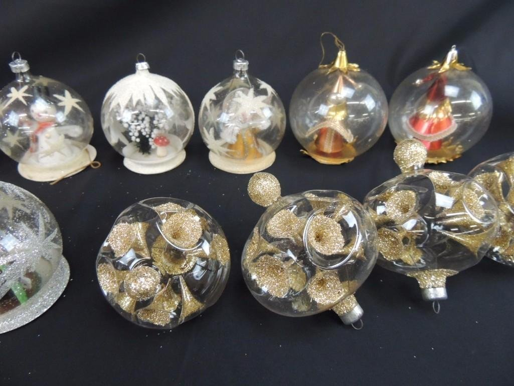 Group of Vintage Clear Glass Figural Christmas - 3