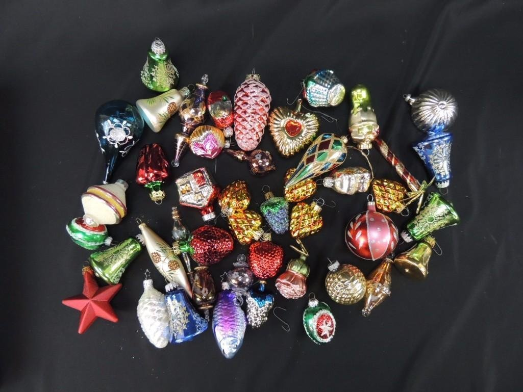 Group of Mercury Glass Figural Christmas Ornaments