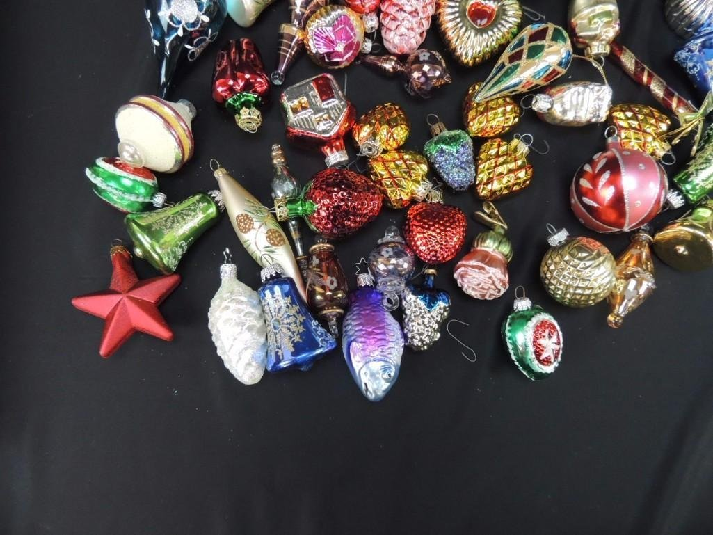 Group of Mercury Glass Figural Christmas Ornaments - 4