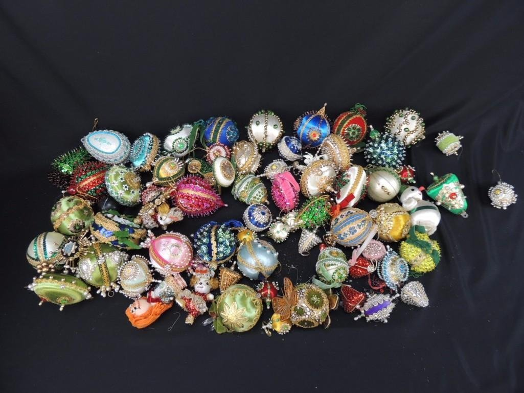 Group of Hand Made Jeweled Christmas Ornaments