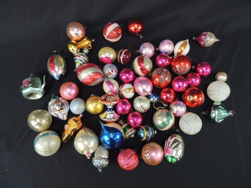 Group of Vintage Mercury Glass Christmas Ornaments