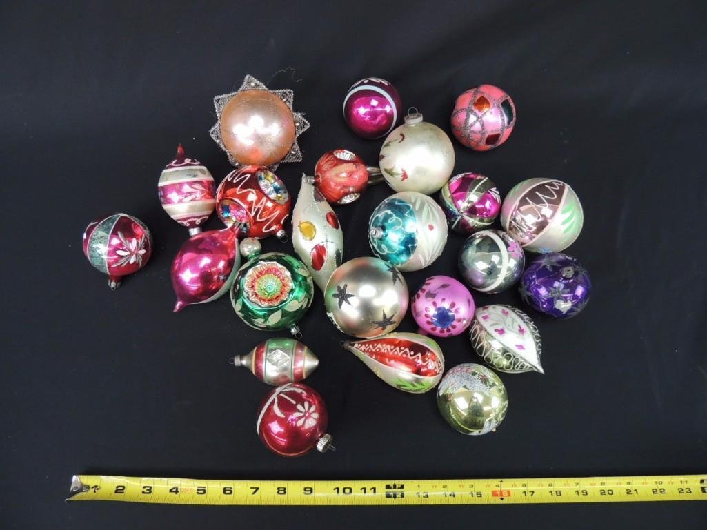 Group of Vintage Mercury Glass Christmas Ornaments - 2