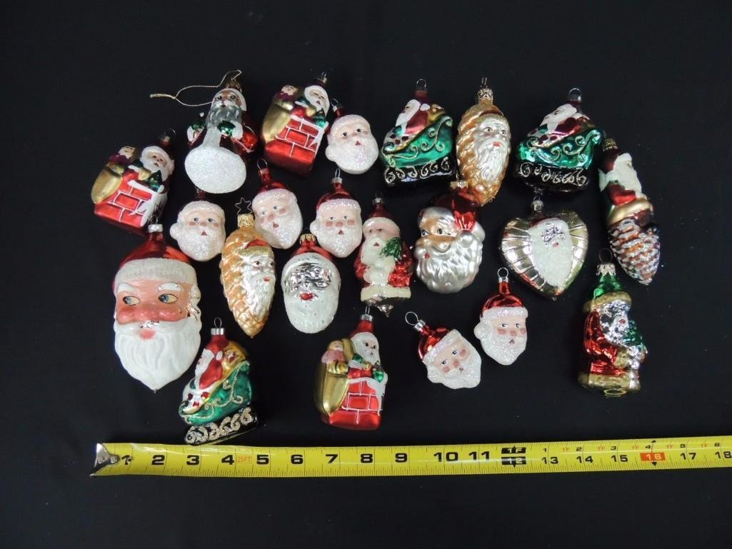 Group of Mercury Glass Santa Christmas Ornaments - 2