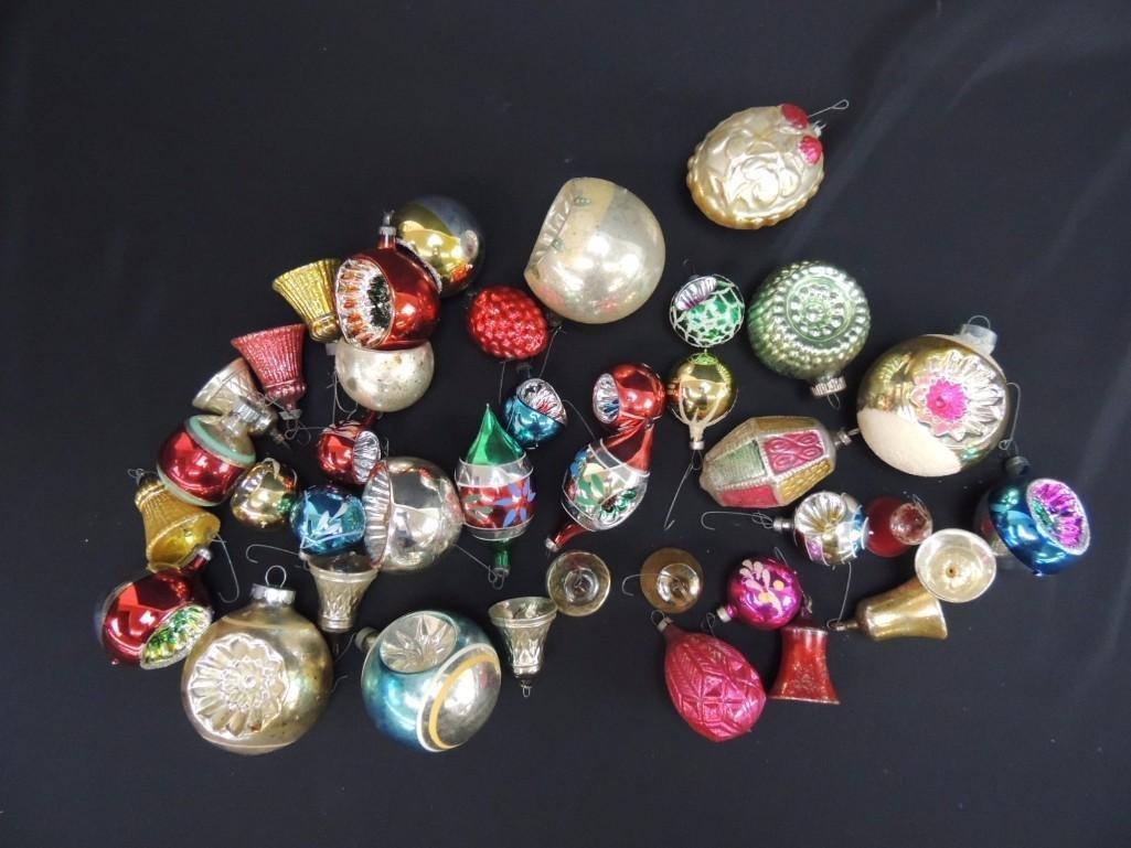 Group of Vintage Mercury Glass Christmas Ornaments