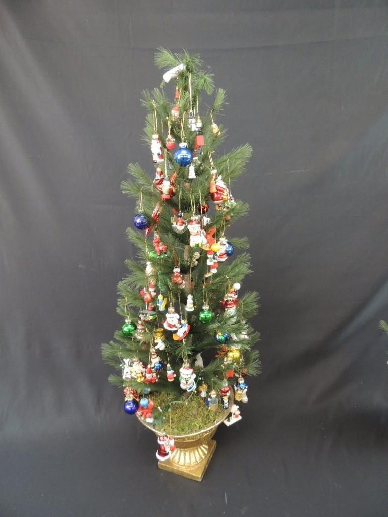 Miniature Christmas Tree Featuring Many Figural Mercury