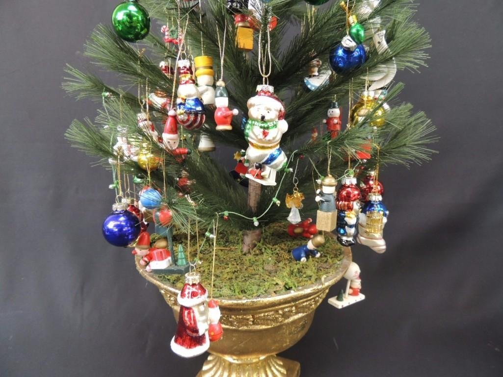 Miniature Christmas Tree Featuring Many Figural Mercury - 2