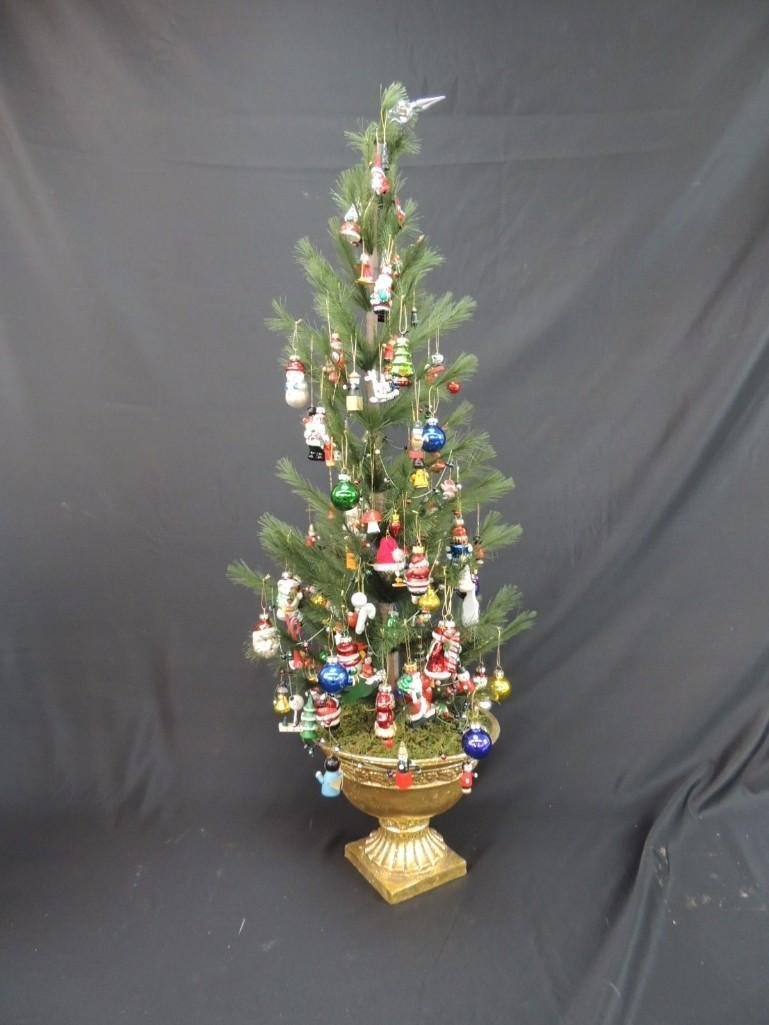 Miniature Christmas Tree Featuring Many Figural Mercury