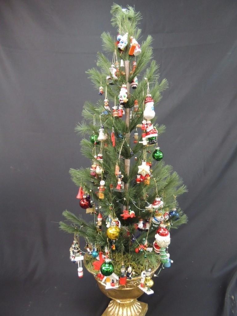 Miniature Christmas Tree Featuring Many Figural Mercury - 5