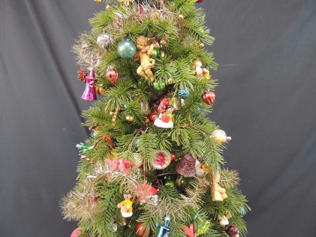 Miniature Christmas Tree Featuring Many Vintage Mercury - 3