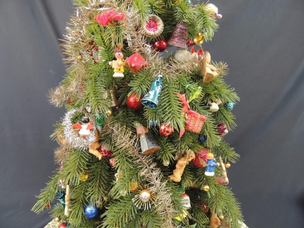 Miniature Christmas Tree Featuring Many Vintage Mercury - 4