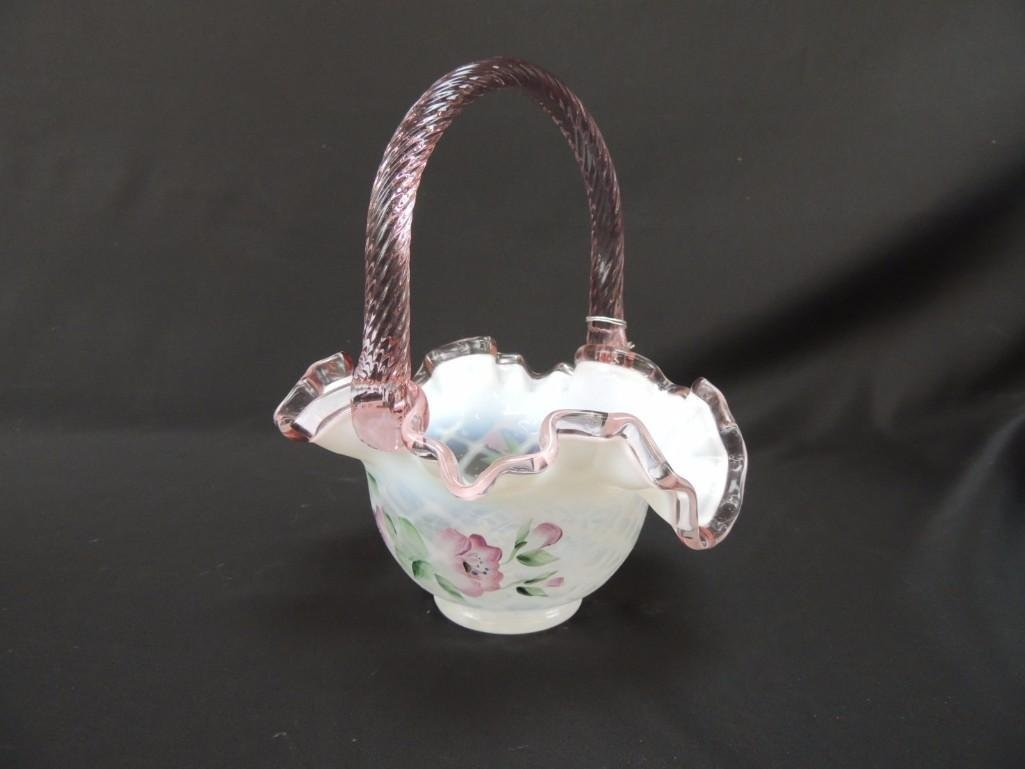 Fenton Hand Painted Signed Pink Opalescent Ruffled Edge - 3