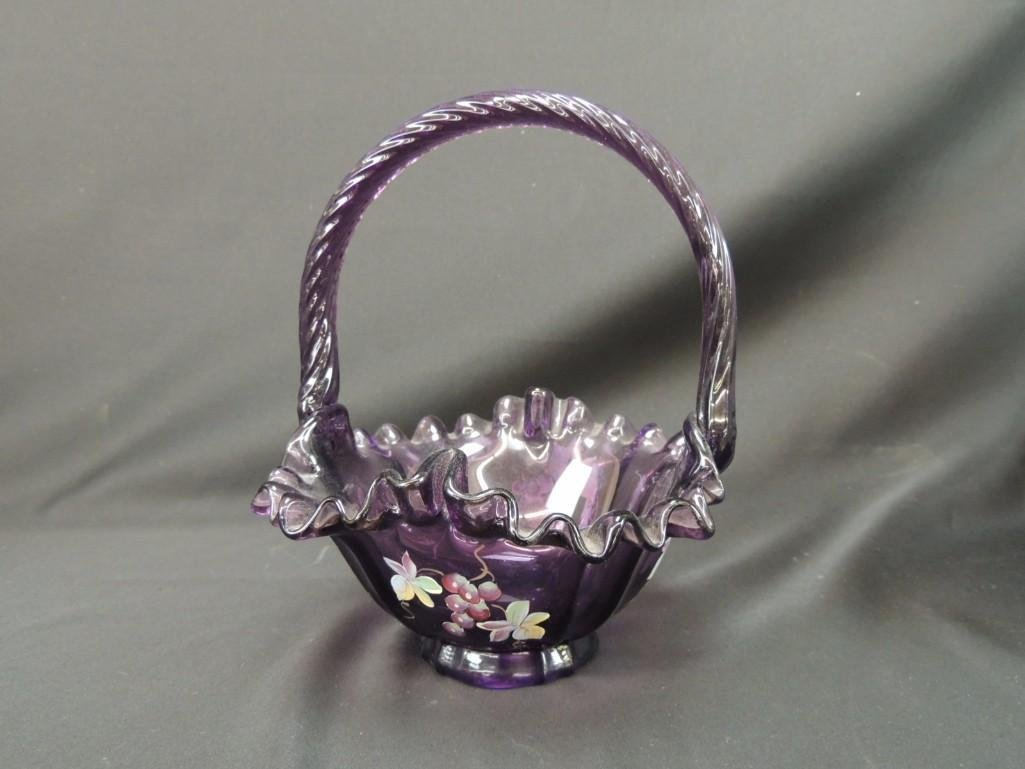 Fenton Hand Painted Signed Purple Ruffled Edge Basket