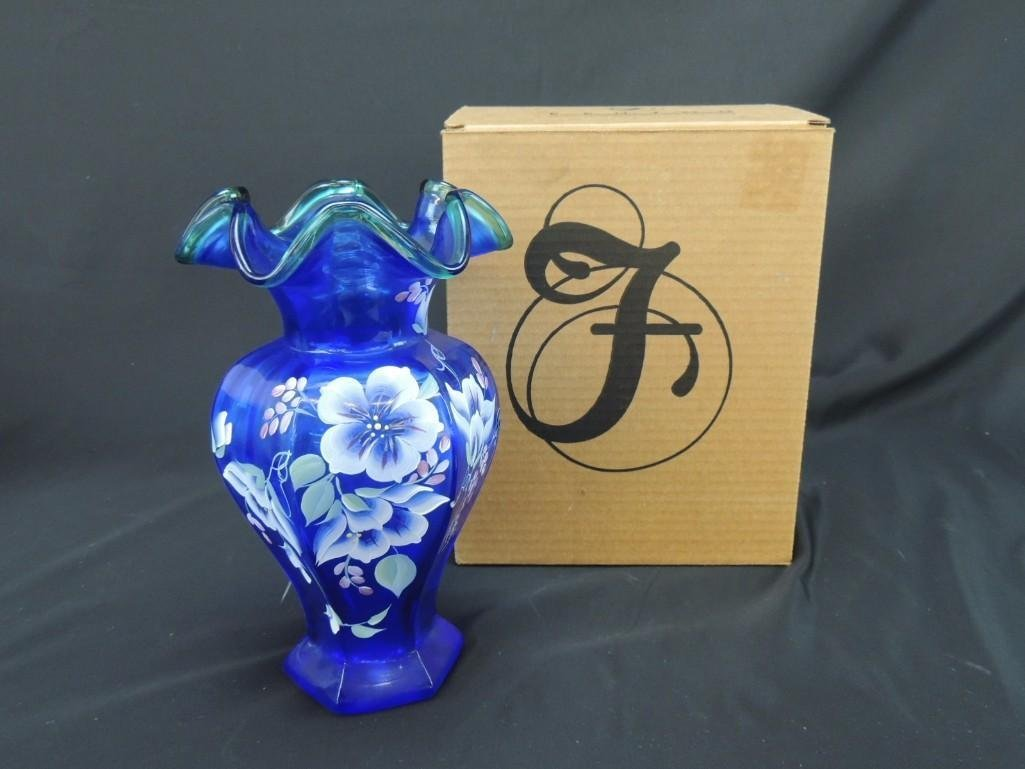 Fenton Hand Painted Signed Blue with Aqua Edge 75th