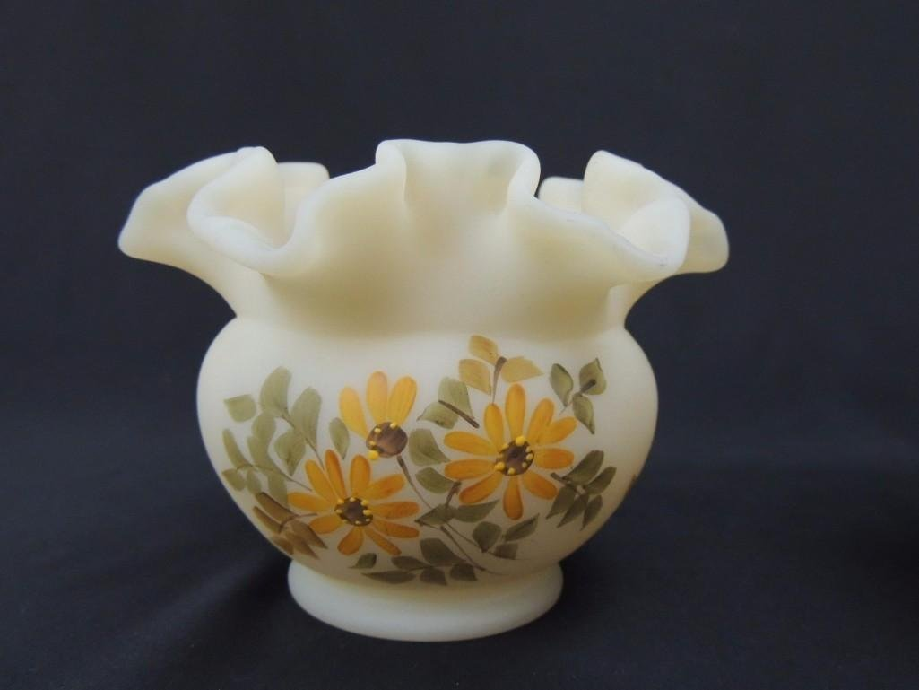 Fenton Hand Painted Signed Ruffled Edge Custard Bowl