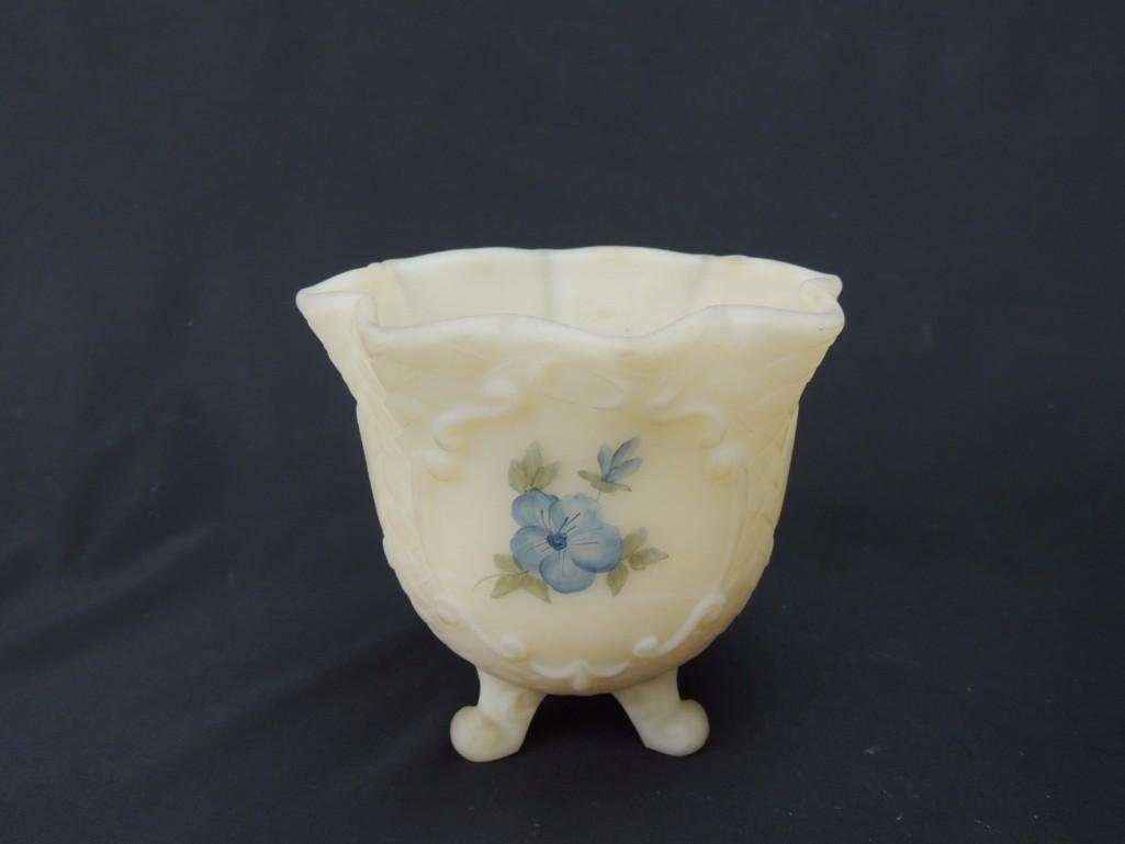 Fenton Hand Painted Signed Scroll Footed Custard Glass