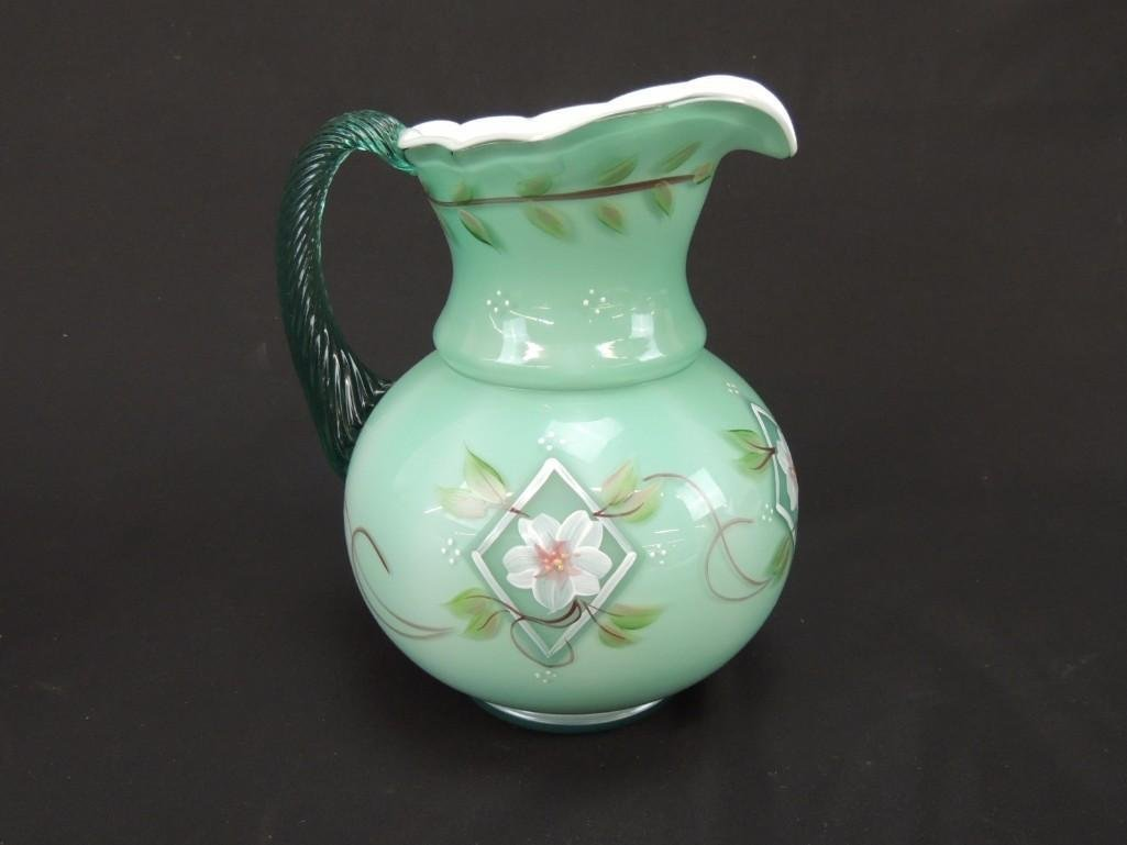 Fenton Hand Painted Aqua Opalescent 75th Anniversary