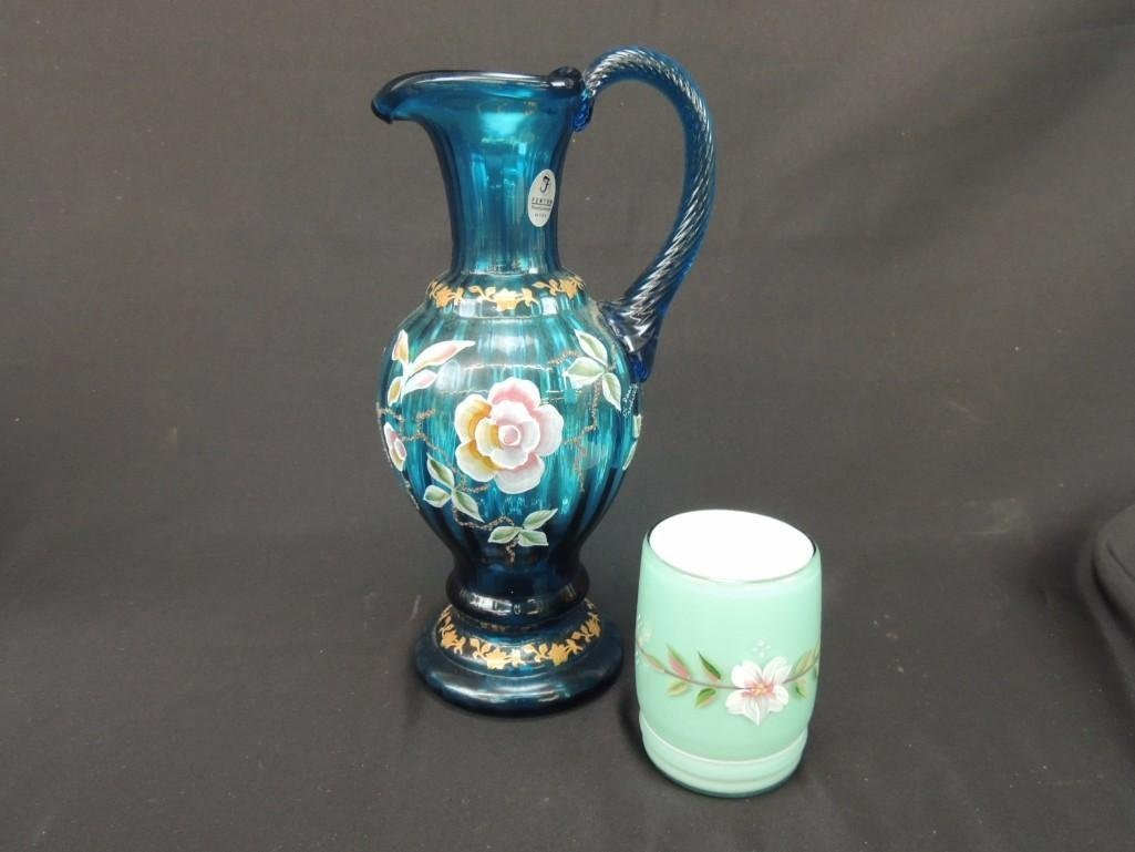 Fenton Hand Painted  Blue and Opalescent Signed Pitcher