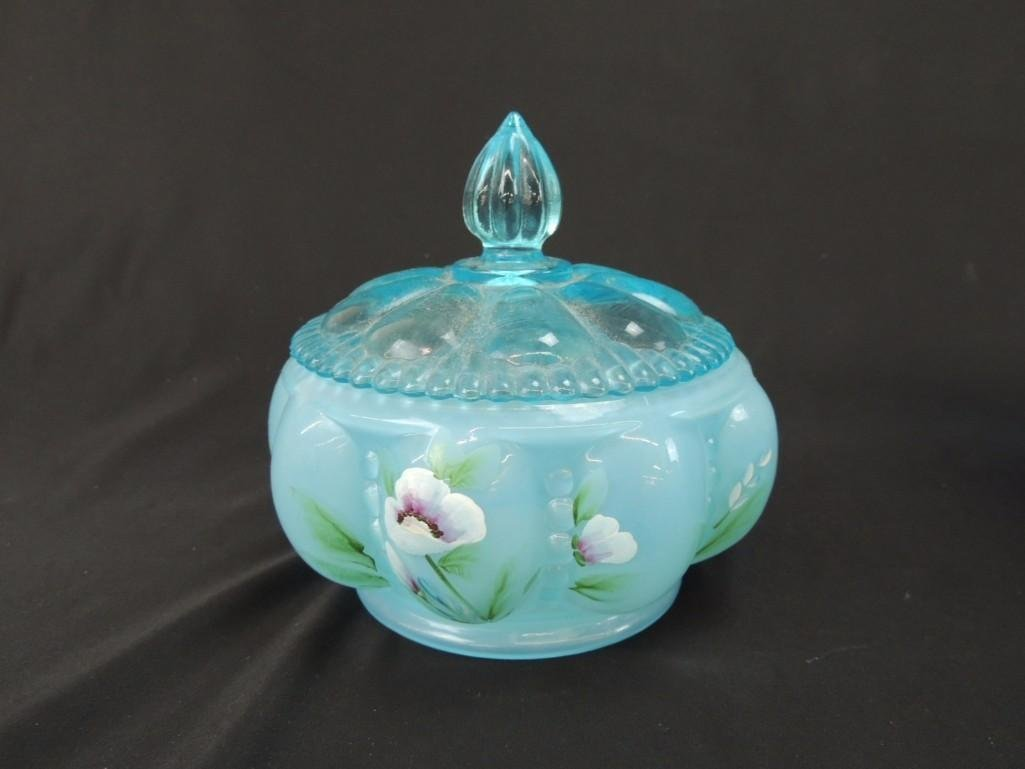 Fenton Hand Painted Signed Blue Opalescent Melon