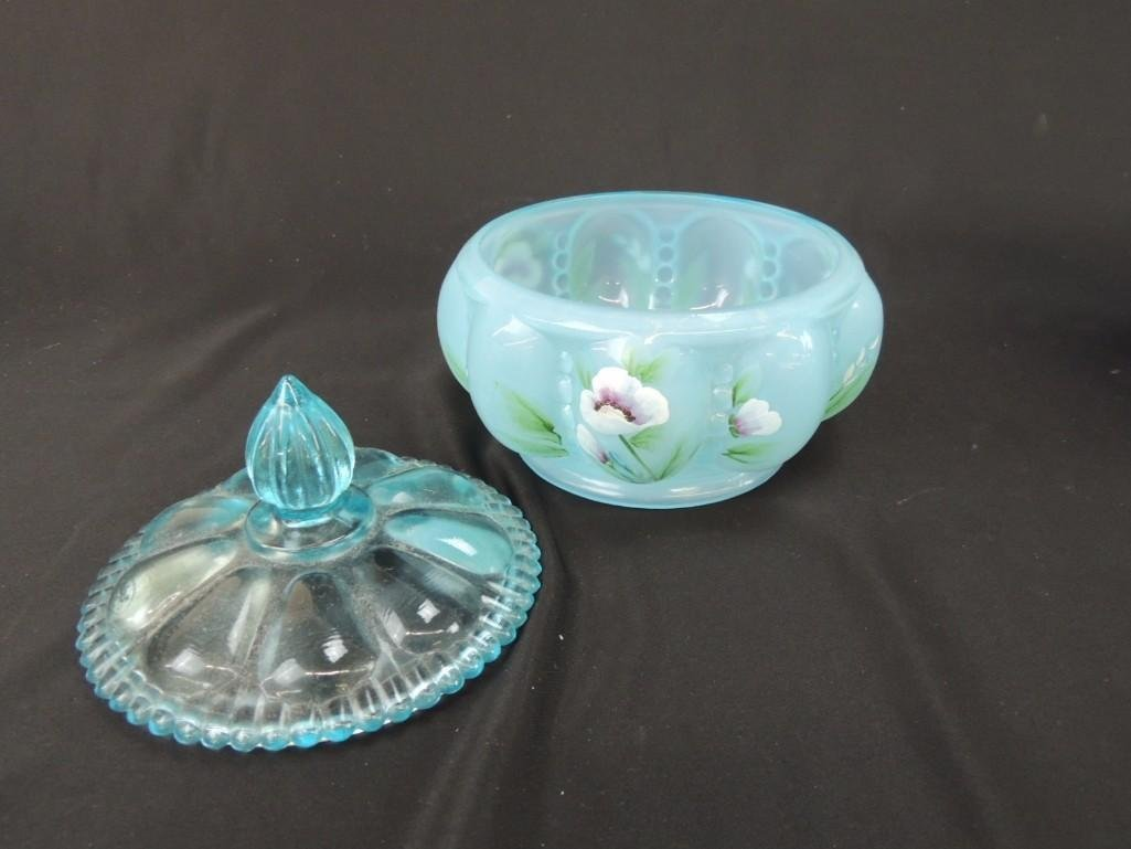 Fenton Hand Painted Signed Blue Opalescent Melon - 2