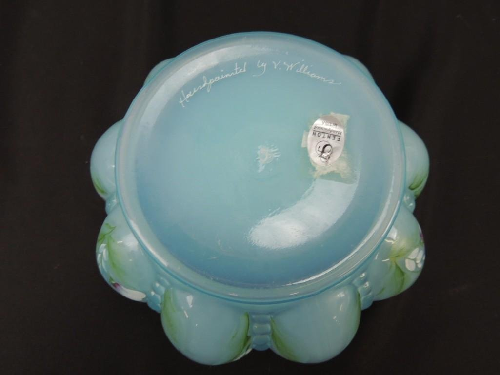 Fenton Hand Painted Signed Blue Opalescent Melon - 3