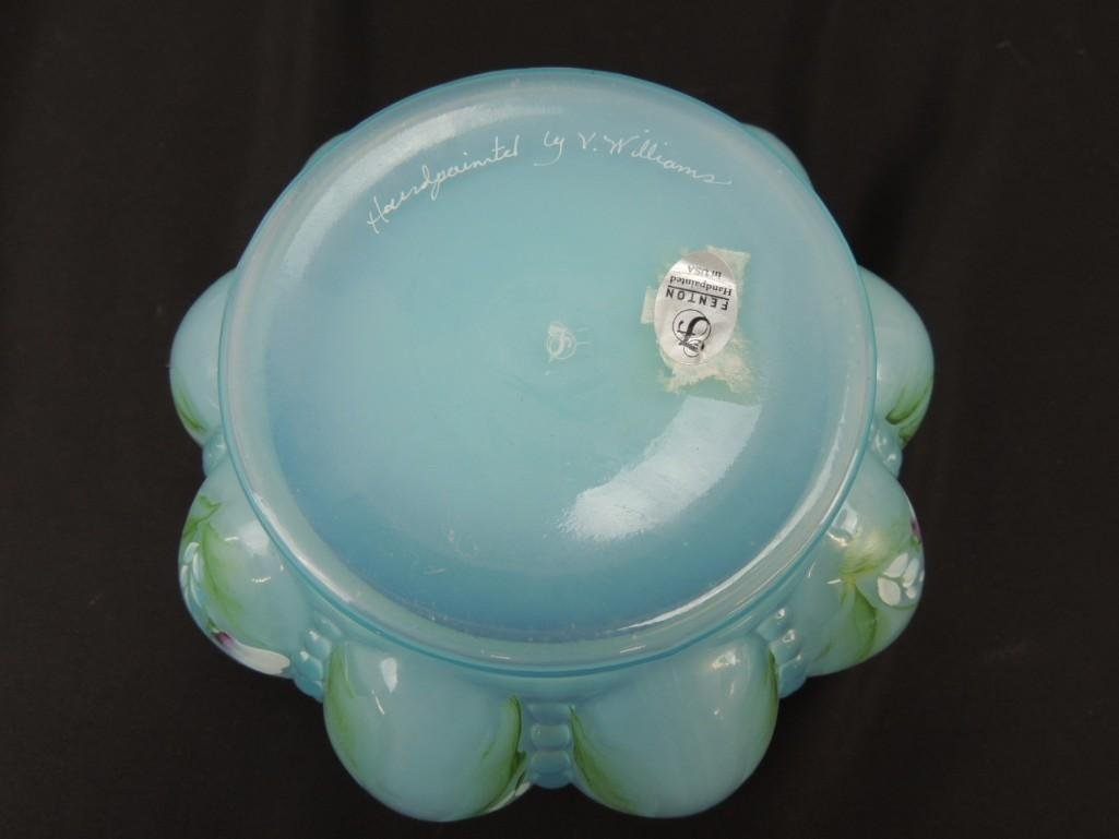 Fenton Hand Painted Signed Blue Opalescent Melon - 4
