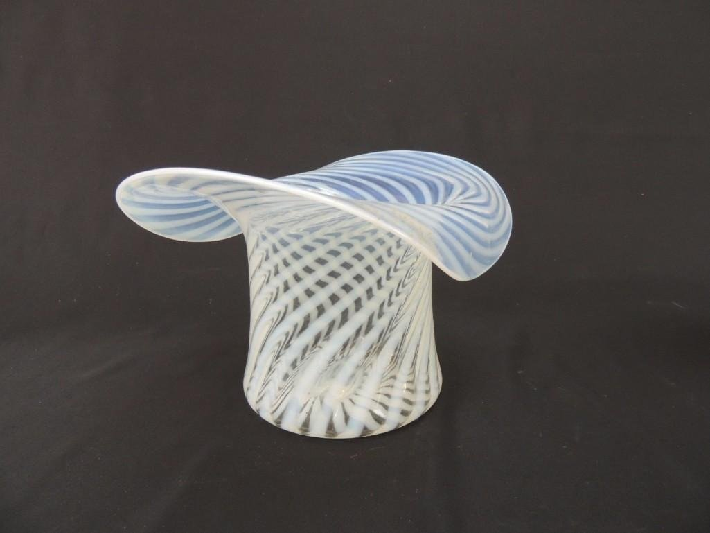Fenton Opalescent Swirl Large Glass Hat