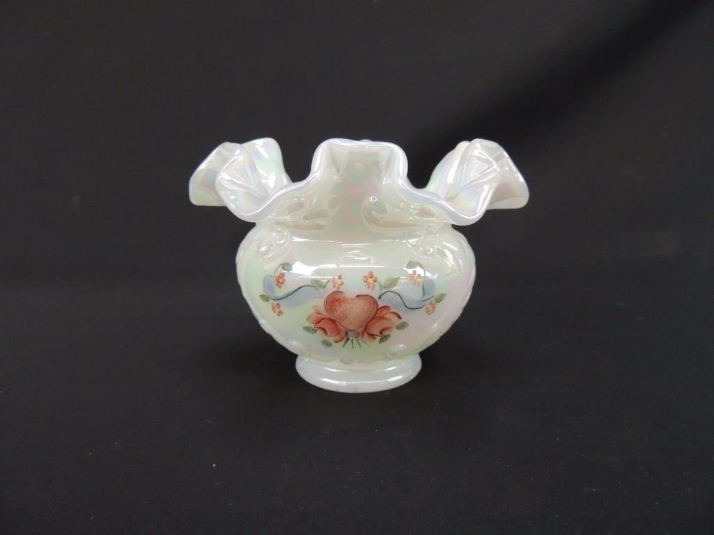 Fenton Signed Opalescent Ruffled Edge Bowl with Hand