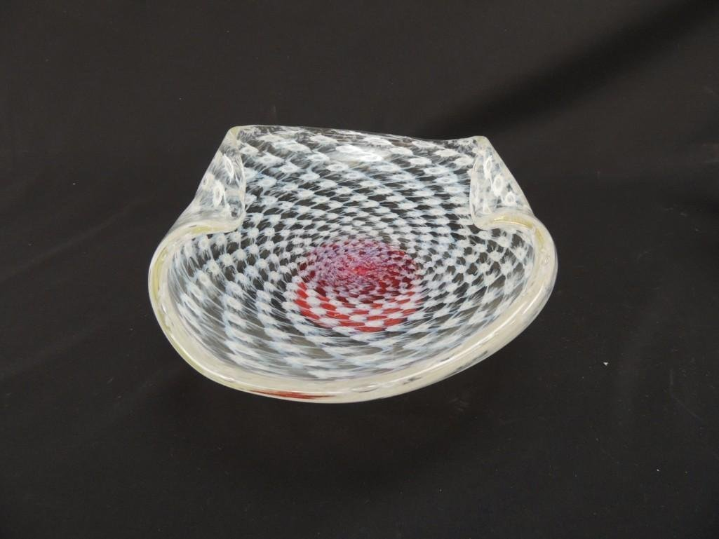 Murano White Swirl and Red Base Art Glass Bowl with