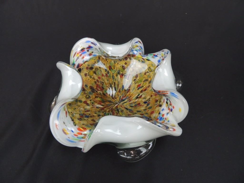 Murano Confetti and Lutz Swirl Art Glass Bowl with