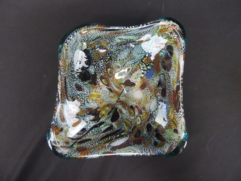 Murano Lutz and Blue Art Glass Bowl with Polished
