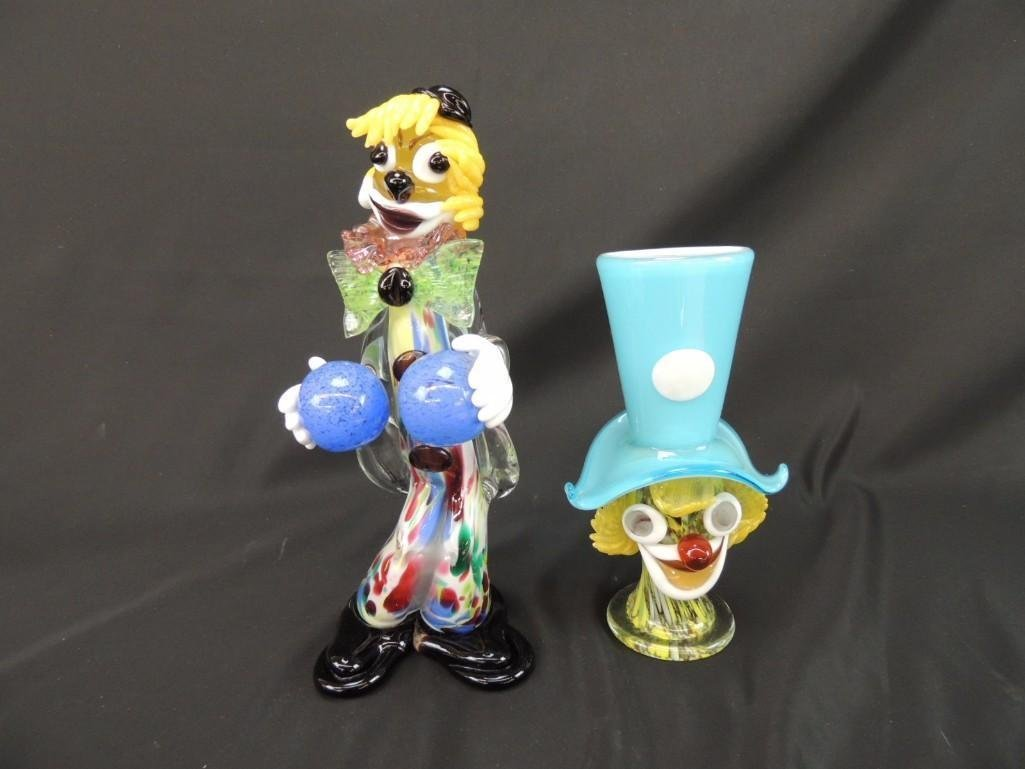 Group of 2 Murano Art Glass Figural Clowns