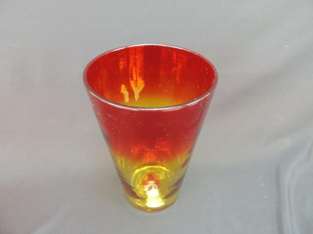 Blenko Tangerine Amberina Vase - 2