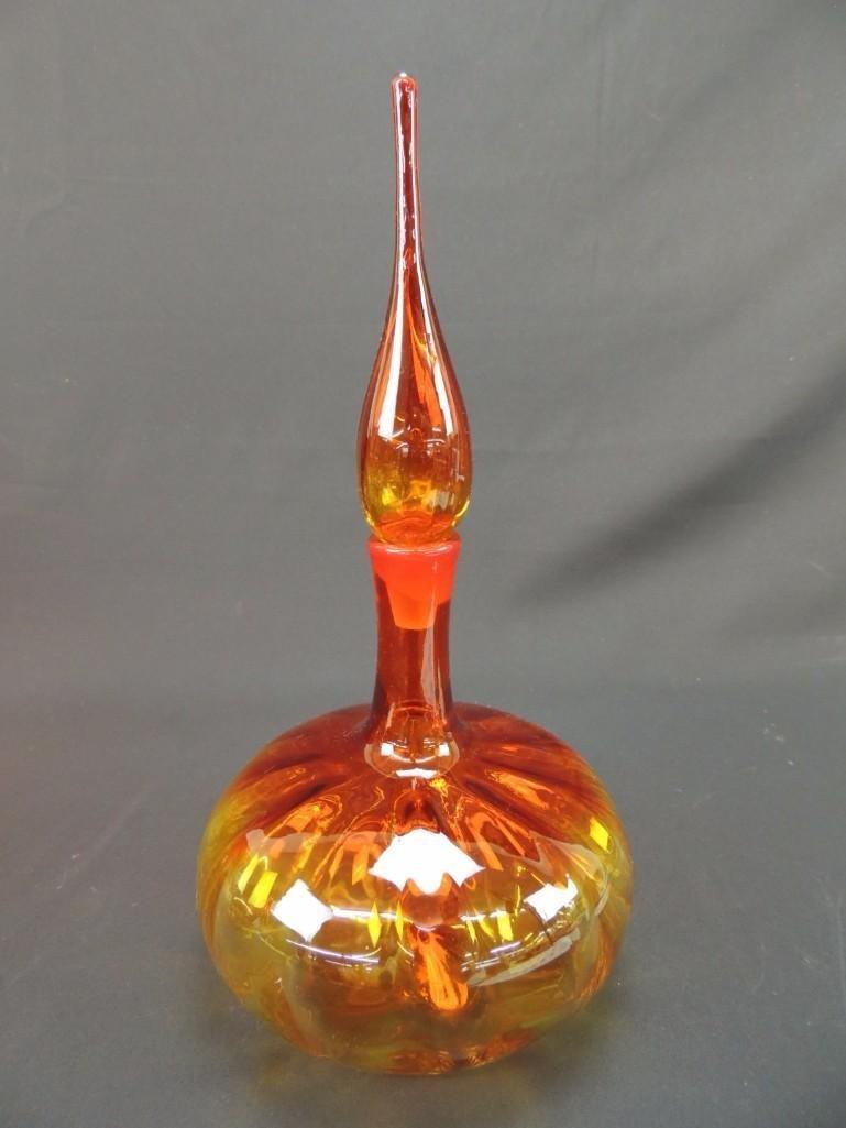 Blenko Tangerine Amberina Decanter with Stopper