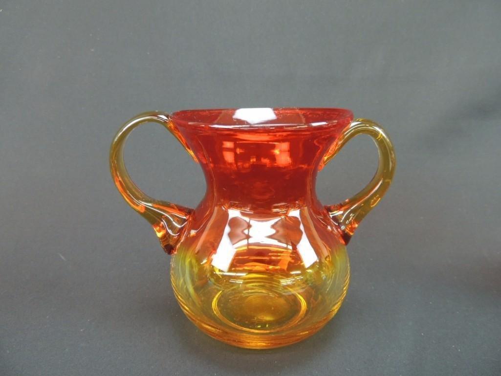 Blenko Tangerine Amberina Handled Vase