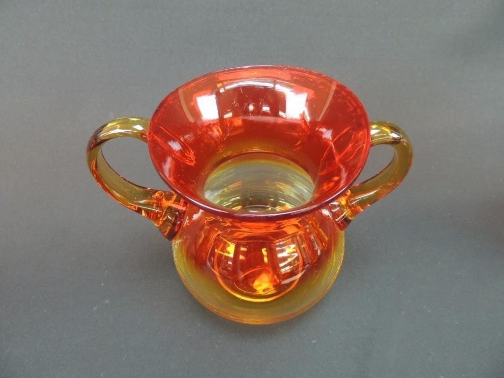 Blenko Tangerine Amberina Handled Vase - 2