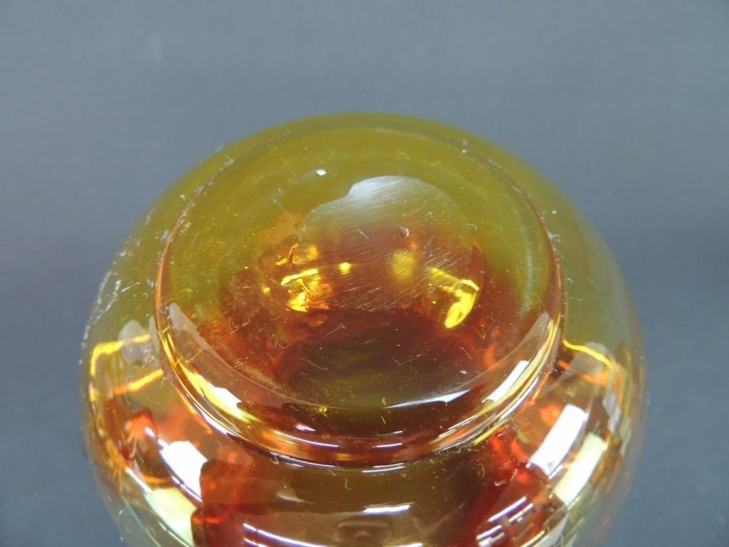 Blenko Tangerine Amberina Handled Vase - 3
