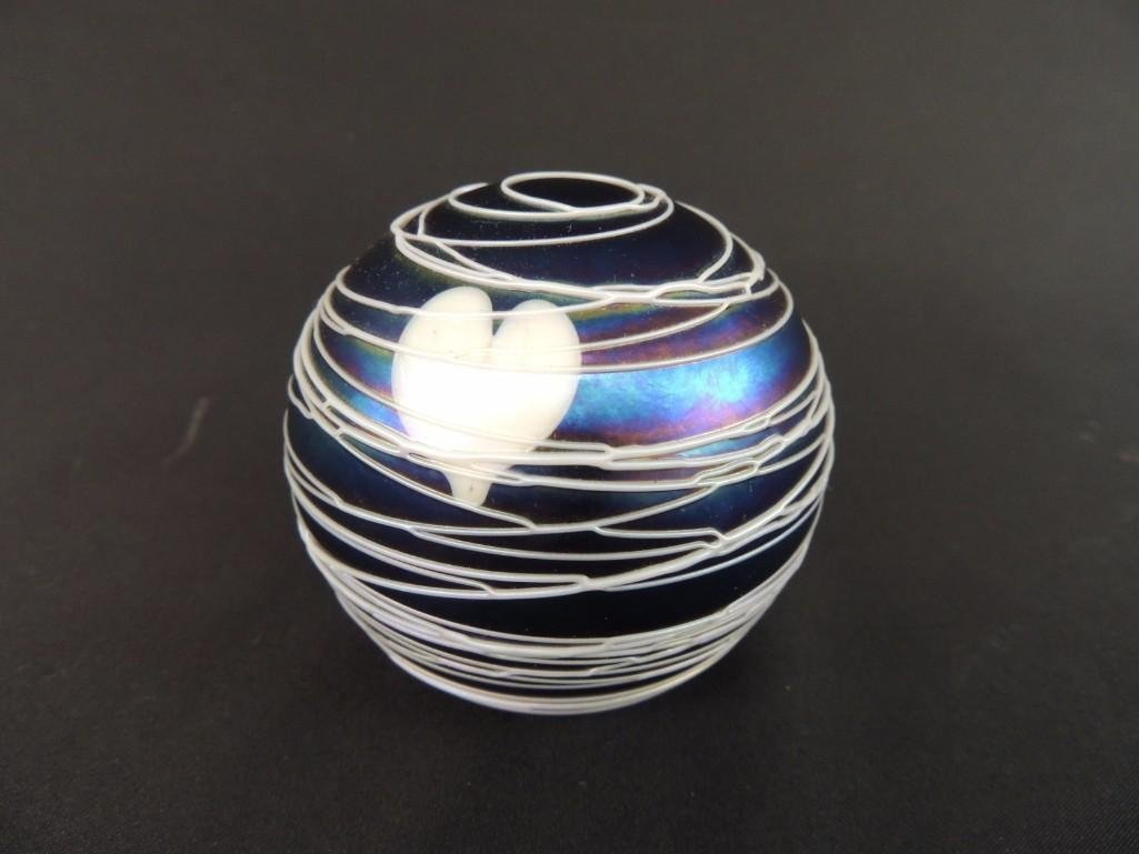Iredescent White Heart and Swirl Pattern Paperweight