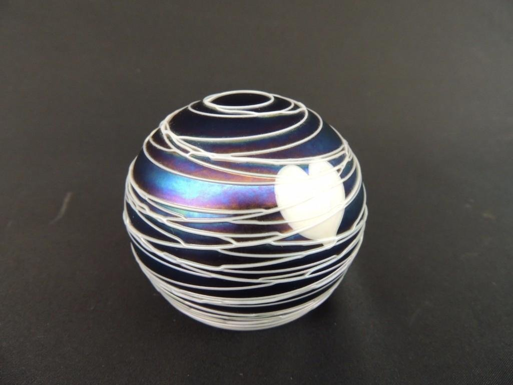Iredescent White Heart and Swirl Pattern Paperweight - 2