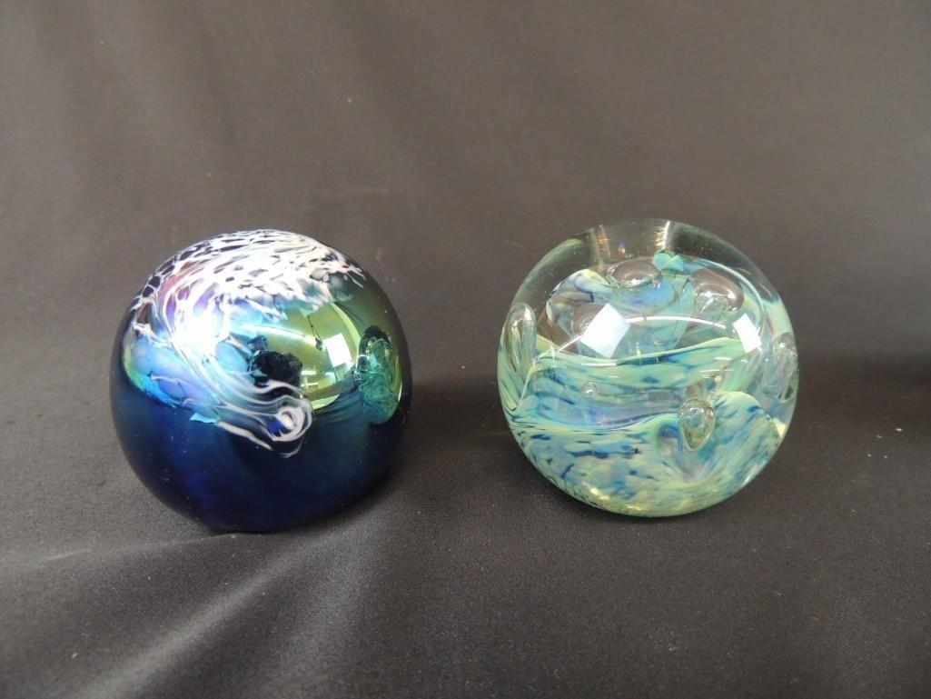 Group of 2 Schuster Studios Art Glass Paperweights
