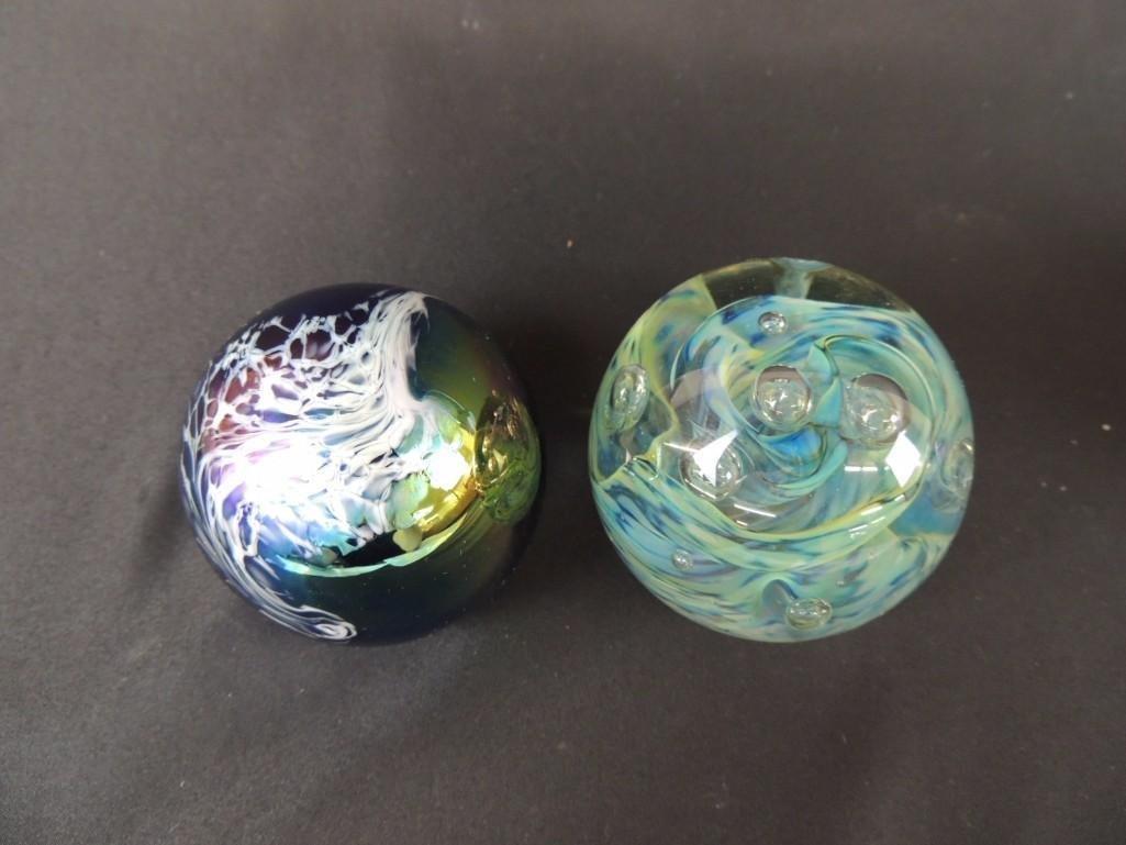 Group of 2 Schuster Studios Art Glass Paperweights - 2