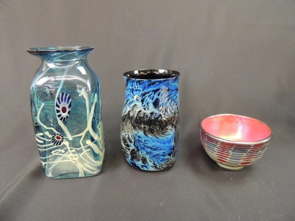 Group of 3 Signed Art Glass Vases and Bowl