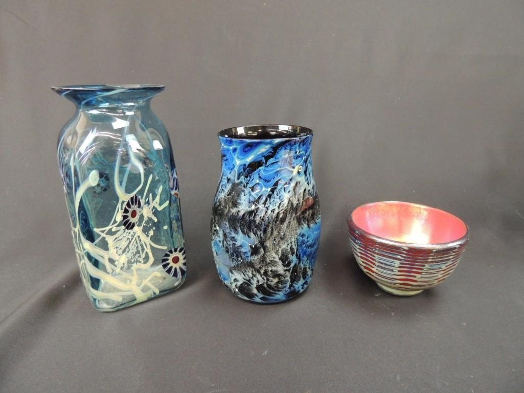 Group of 3 Signed Art Glass Vases and Bowl - 2